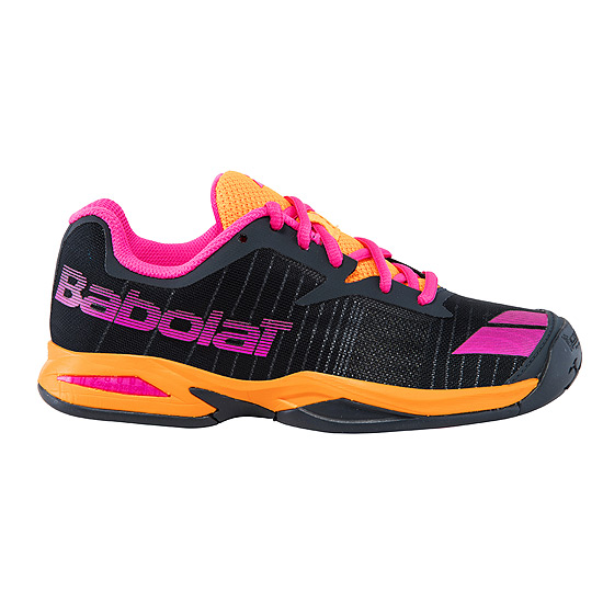 Babolat Jet Junior All Court Tennis Shoes (Grey-Orange-Pink)