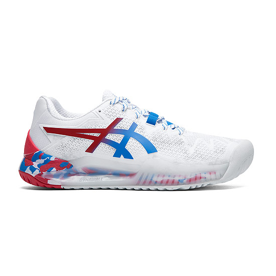 Asics Gel Resolution 8 Tokyo Womens Tennis Shoes (White-Electric Blue)