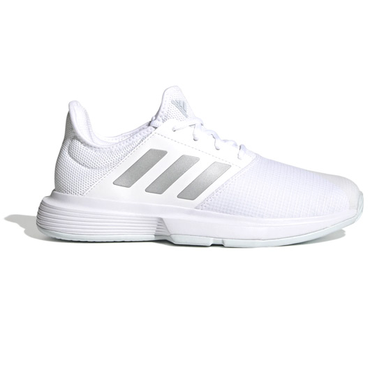 Adidas Gamecourt Womens Tennis Shoes (White-Silver-Halo Blue)