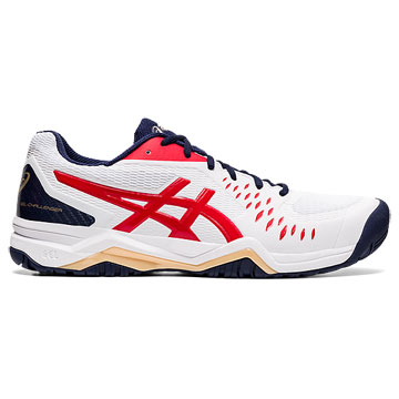 Asics Gel Challenger 12 Mens Tennis Shoes (White-Classic Red)