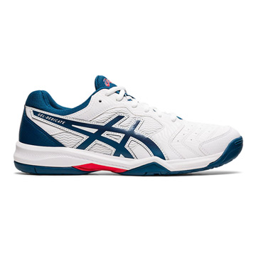 Asics Gel Dedicate 6 Mens Tennis Shoes (White-Mako Blue)
