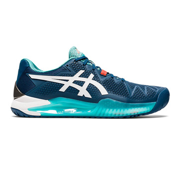 Asics Gel Resolution 8 Mens Tennis Shoes (Mako Blue/White)
