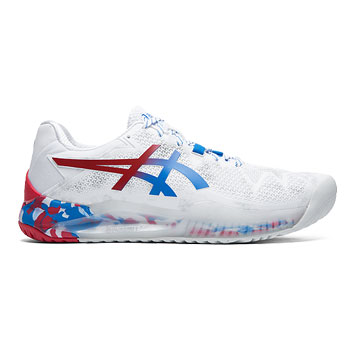 Asics Gel Resolution 8 Retro Tokyo Mens Tennis Shoes (White-Electric Blue)
