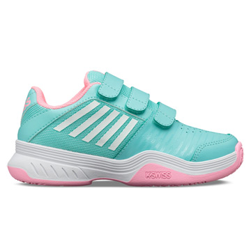 K-Swiss Court Express Strap Omni Junior Tennis Shoes (Blue-Pink-White)