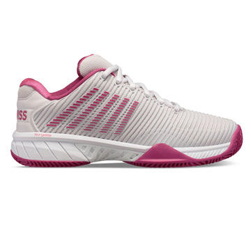 K-Swiss Hypercourt Express HB Womens Tennis Shoes (Nimbus Cloud-Cactus Flower-White)
