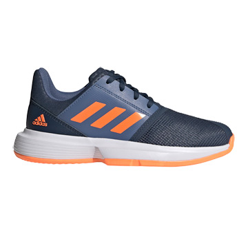 Adidas CourtJam Junior Tennis Shoes (Crew Navy-Screaming Orange-Crew Blue)