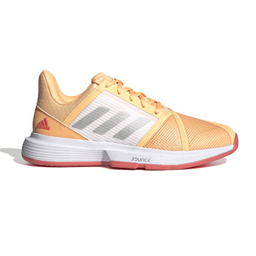 Adidas CourtJam Bounce Womens Tennis Shoes (Acid Orange-Silver Met-Hazy Rose)